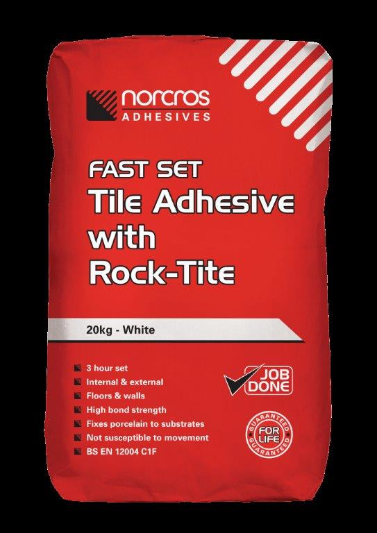 4  Norcros Fast Set Tile Adhesive With Rocktite