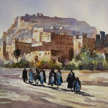 Berber Women at Ourzazate painting by Trevor Waugh