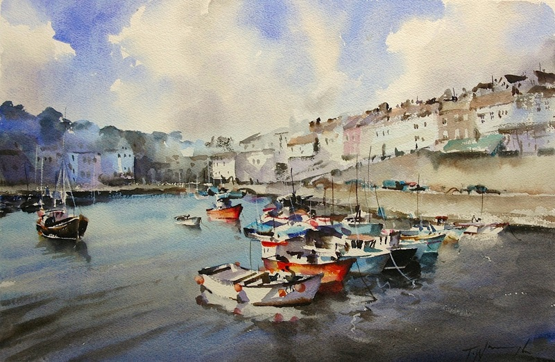 Mevagissey Harbour, watercolour