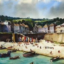 Mousehole harbour, watercolour