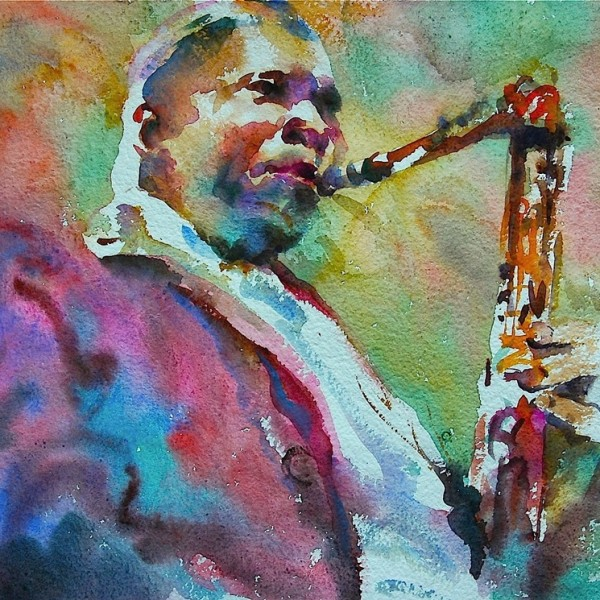 Mr Music, watercolour on paper