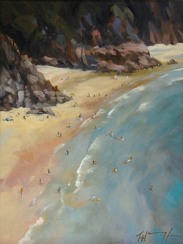 "Porthcurno Cornwall, oil on board 16"" x 12"""