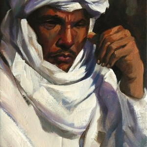 Arab tribesman, watercolour on paper