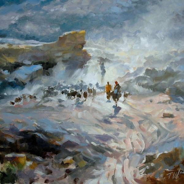 The Crossing oil on canvas by Trevor Waugh