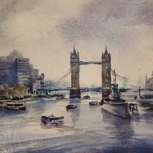 Pool of London, watercolour by Trevor Waugh