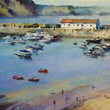 Tenby Harbour, watercolour by Trevor Waugh