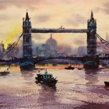 Tower Bridge Sunset, watercolour by Trevour Waugh