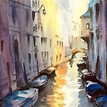 venice canal, original art by Trevor Waugh
