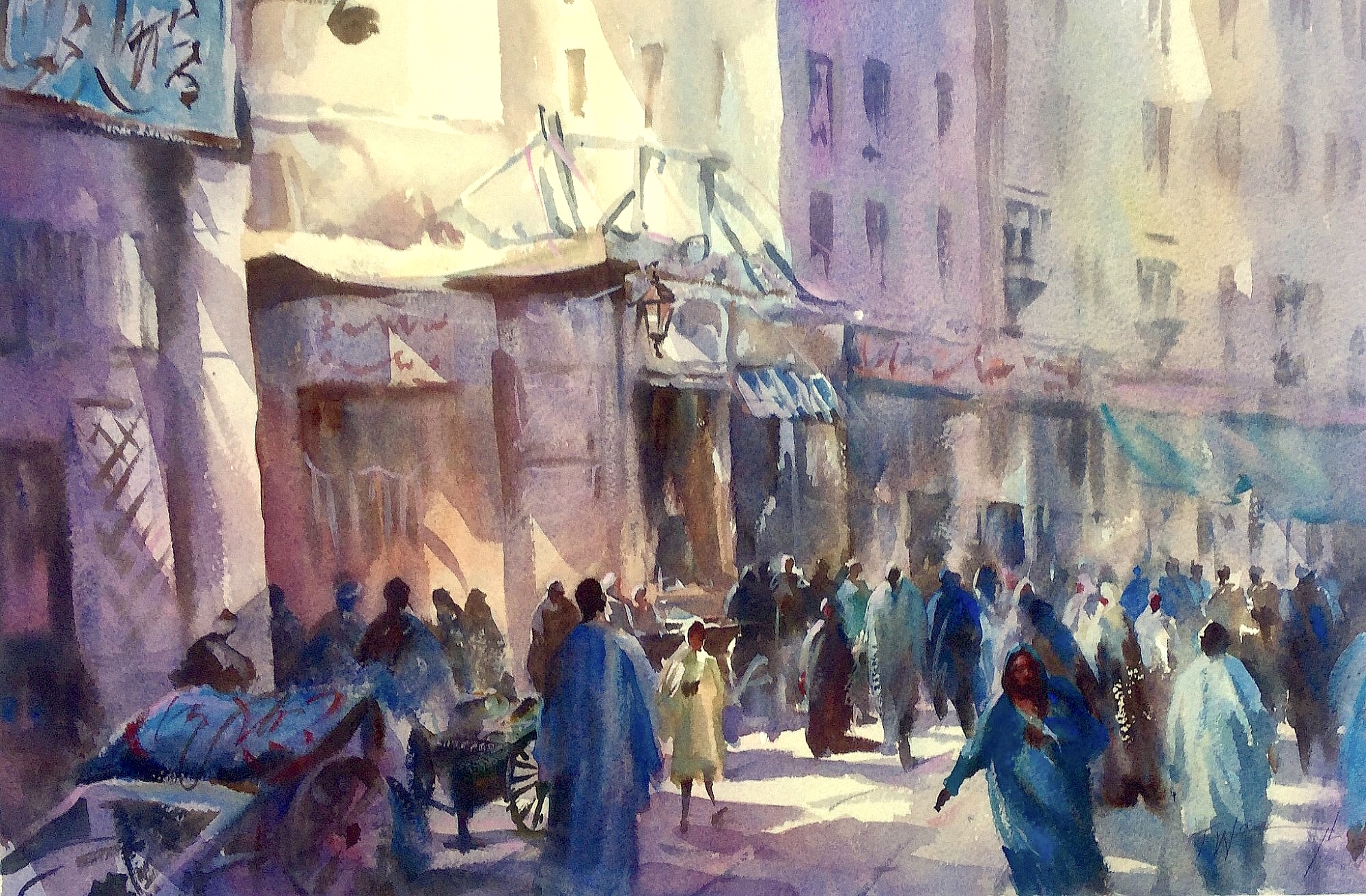 luxor market, original art by Trevor Waugh