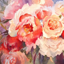 Red Peonies, original art by Trevor Waugh