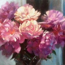 Peonies in France oil on board by Trevor Waugh