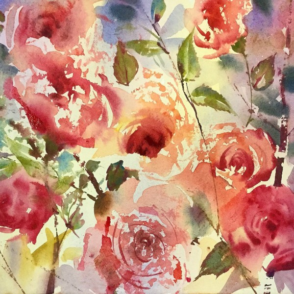 Rose Frottage Watercolour