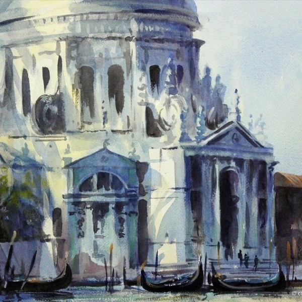 santa maria della salute, original art by Trevor Waugh