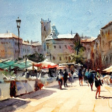 valencia market, original art by Trevor Waugh