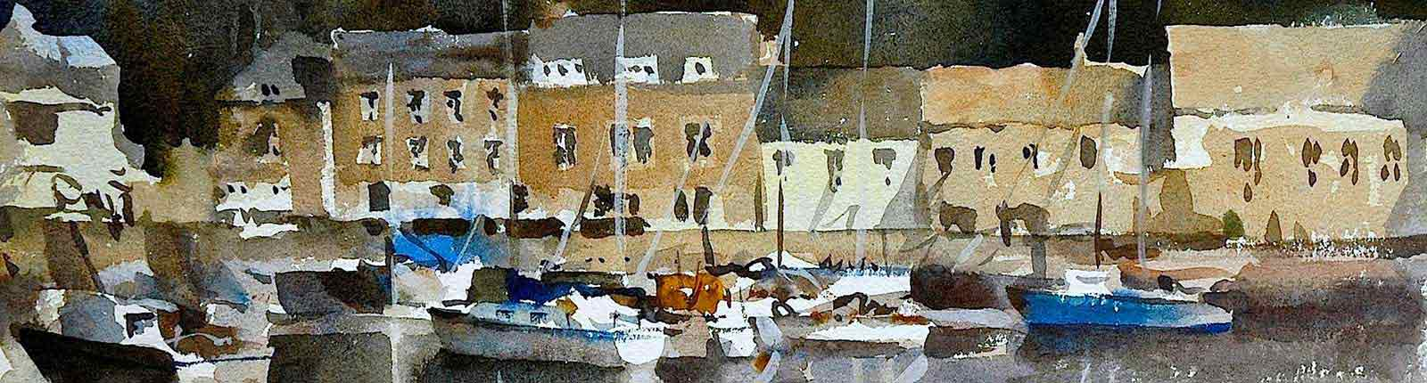 Painting of St Ives, watercolor by artist Trevor Waugh