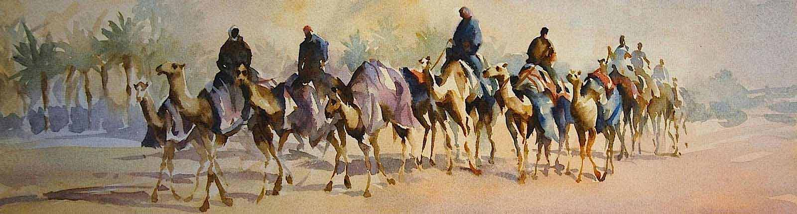 Painting of camel train, watercolor by Trevor Waugh