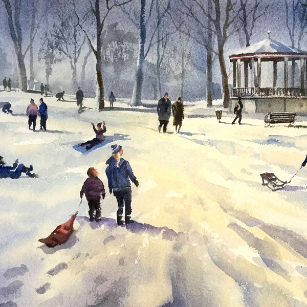 Bandstand Cheltenham, original art by Trevor Waugh