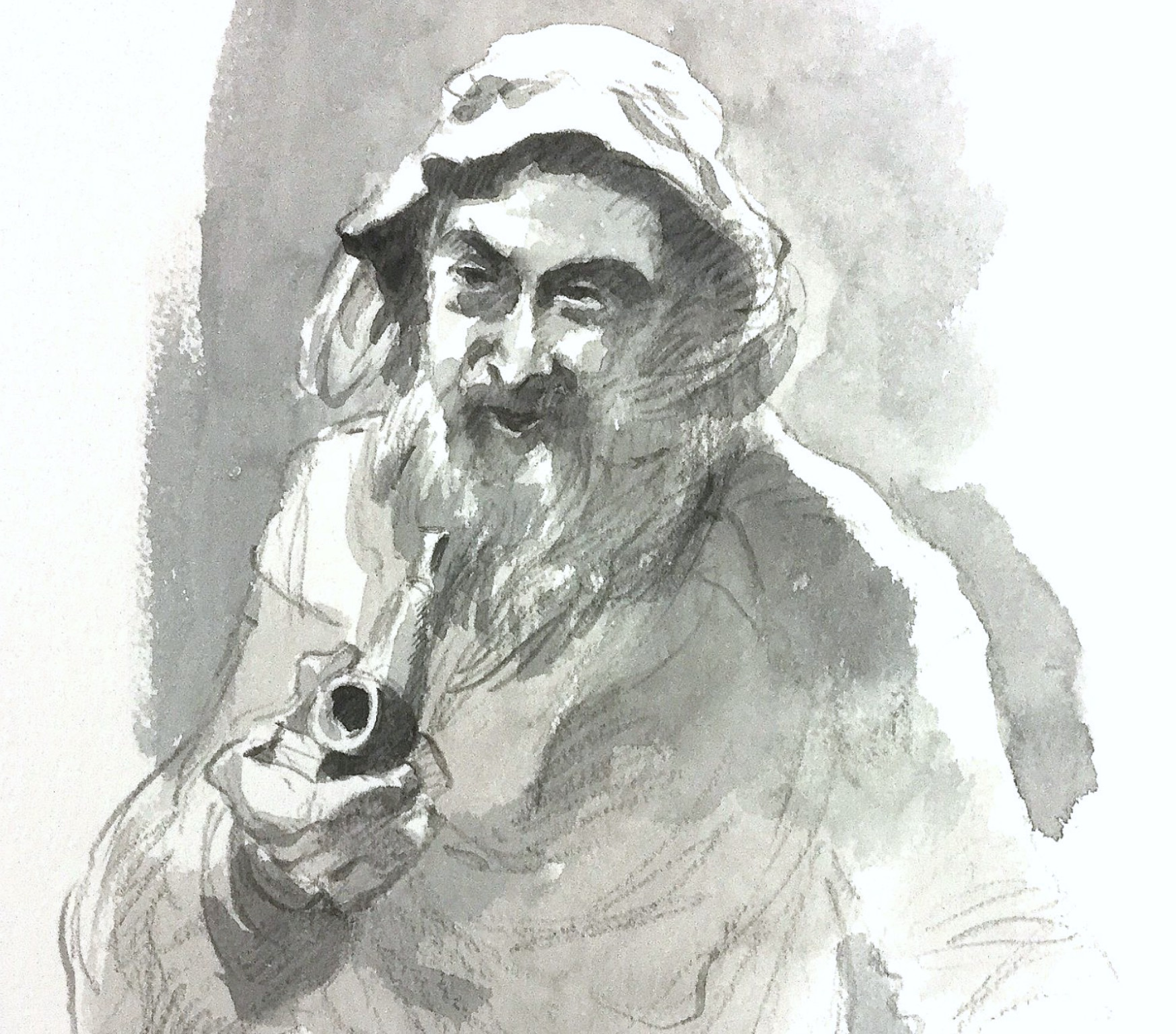 Pipe Smoker Sketch, original art by Trevor Waugh