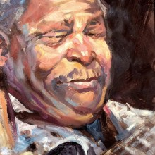 B B King, original art by Trevor Waugh
