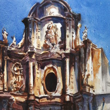 Valencia church, original art by Trevor Waugh