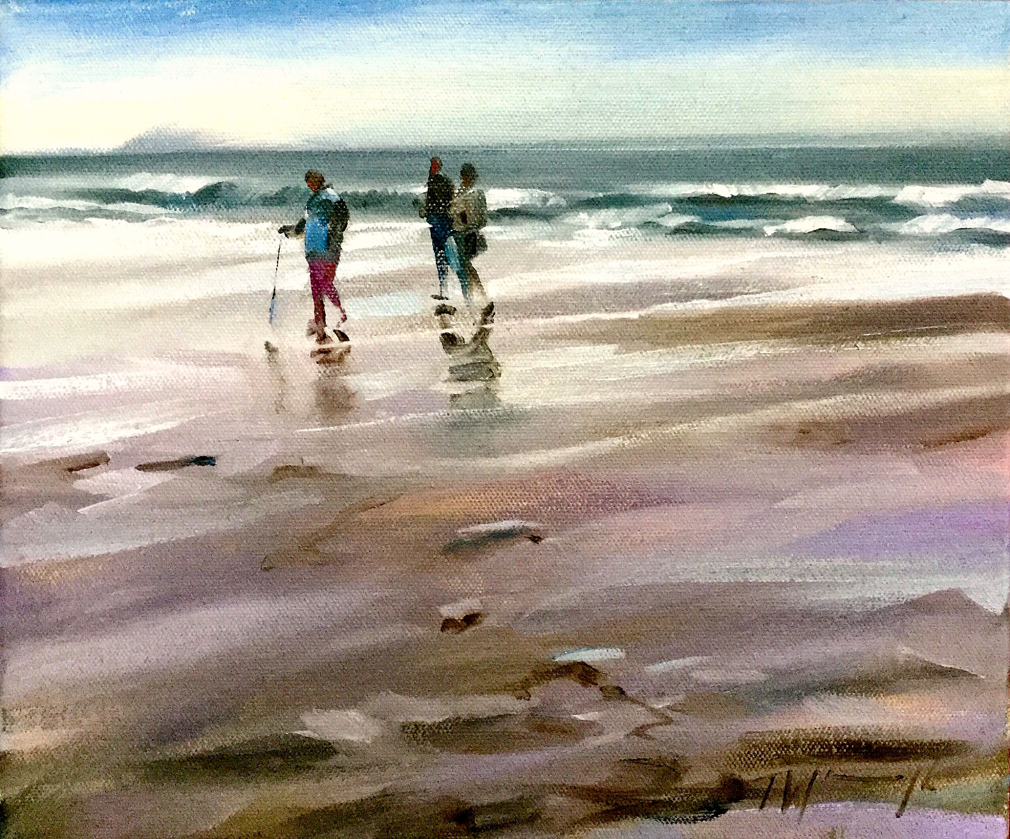Beach walk, original art by Trevor Waugh