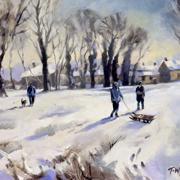 Cotswold Christmas oil on board by Trevor Waugh