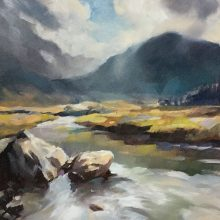 """Highland Stream"" Oil on board unlisted size"