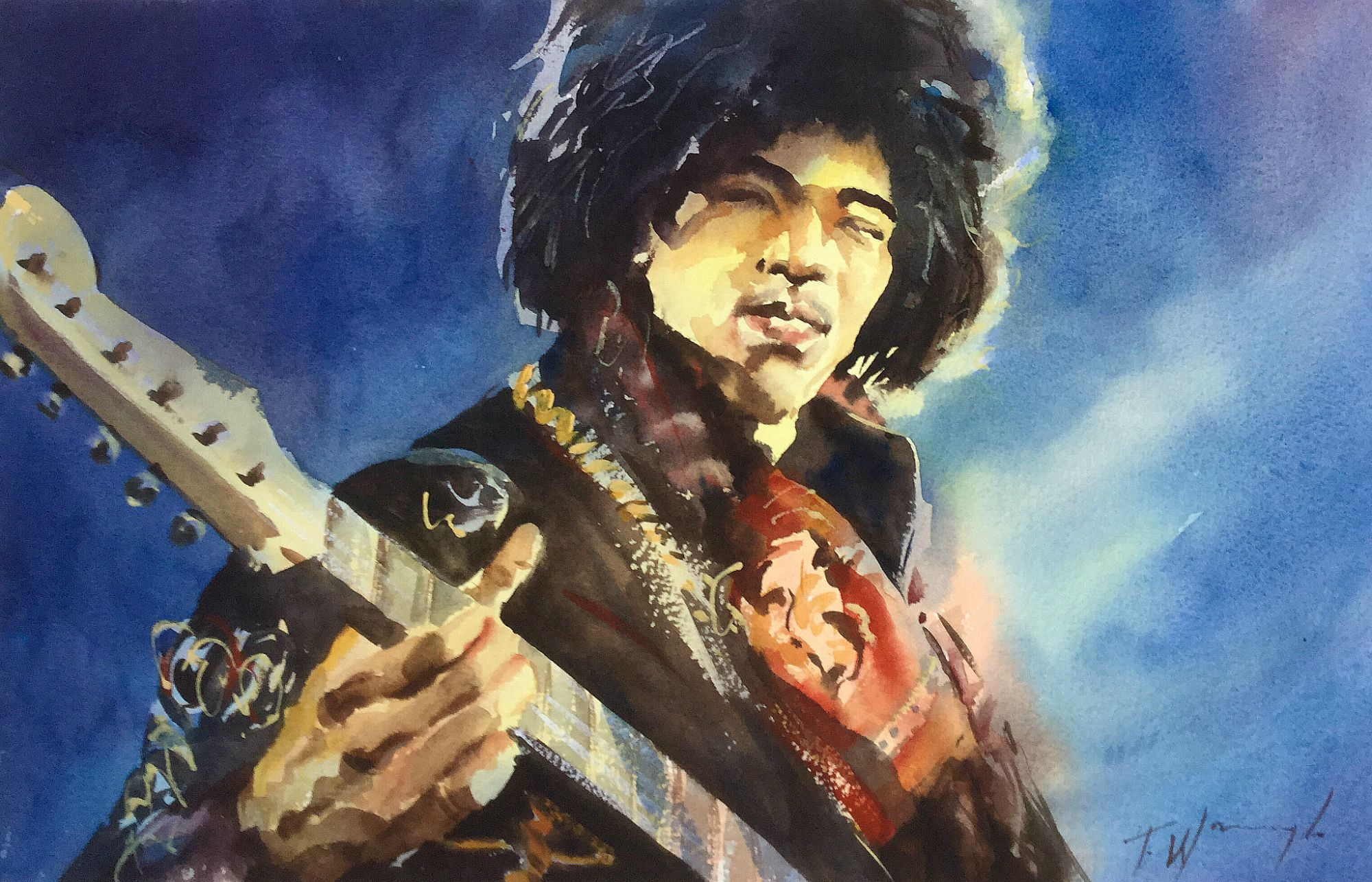 Early Jimi / watercolour unframed