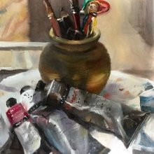 "The Golden Pot Oil on board 16'""x 12"""
