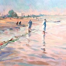 Omani Beach at Seeb oil on board by Trevor Waugh