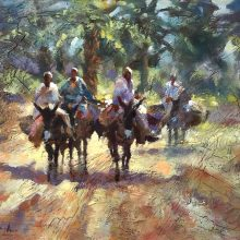Egyptian Donkey Ride Oil on Gesso