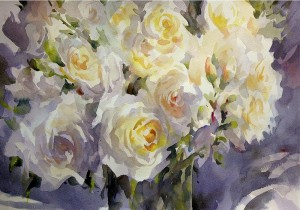 Friendship roses painting watercolour Trevor Waugh