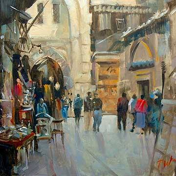 street scenes, paintings by Trevor Waugh