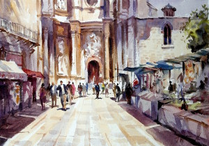 church valencia, original art by Trevor Waugh