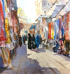 Essaoira Morocco watercolour by Trevor Waugh