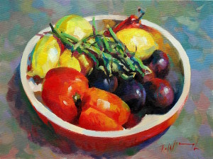 Bowl with beans, original art by Trevor Waugh