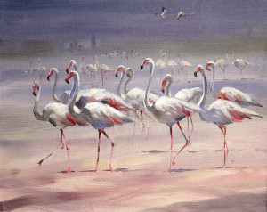 Flamingos, original art by Trevor Waugh