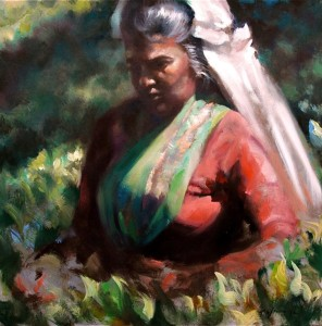 Tea Picker, original art by Trevor Waugh