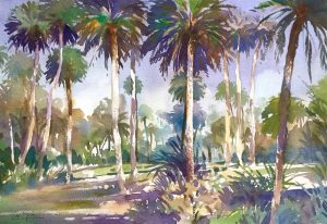 Moroccan Palms watercolour matted in cream and white