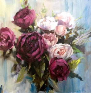"Studio Flowers Oil on canvas unframed 31.5""x 31.5"""