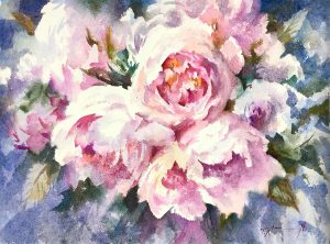 The Pink Peonies Watercolour on handmade paper