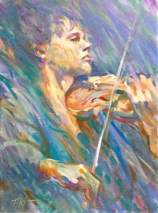 The Violinist Oil on canvas 16' x 12""